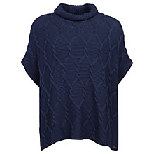 Buy Barbour Cable and Purl Poncho, Navy Online at johnlewis.com