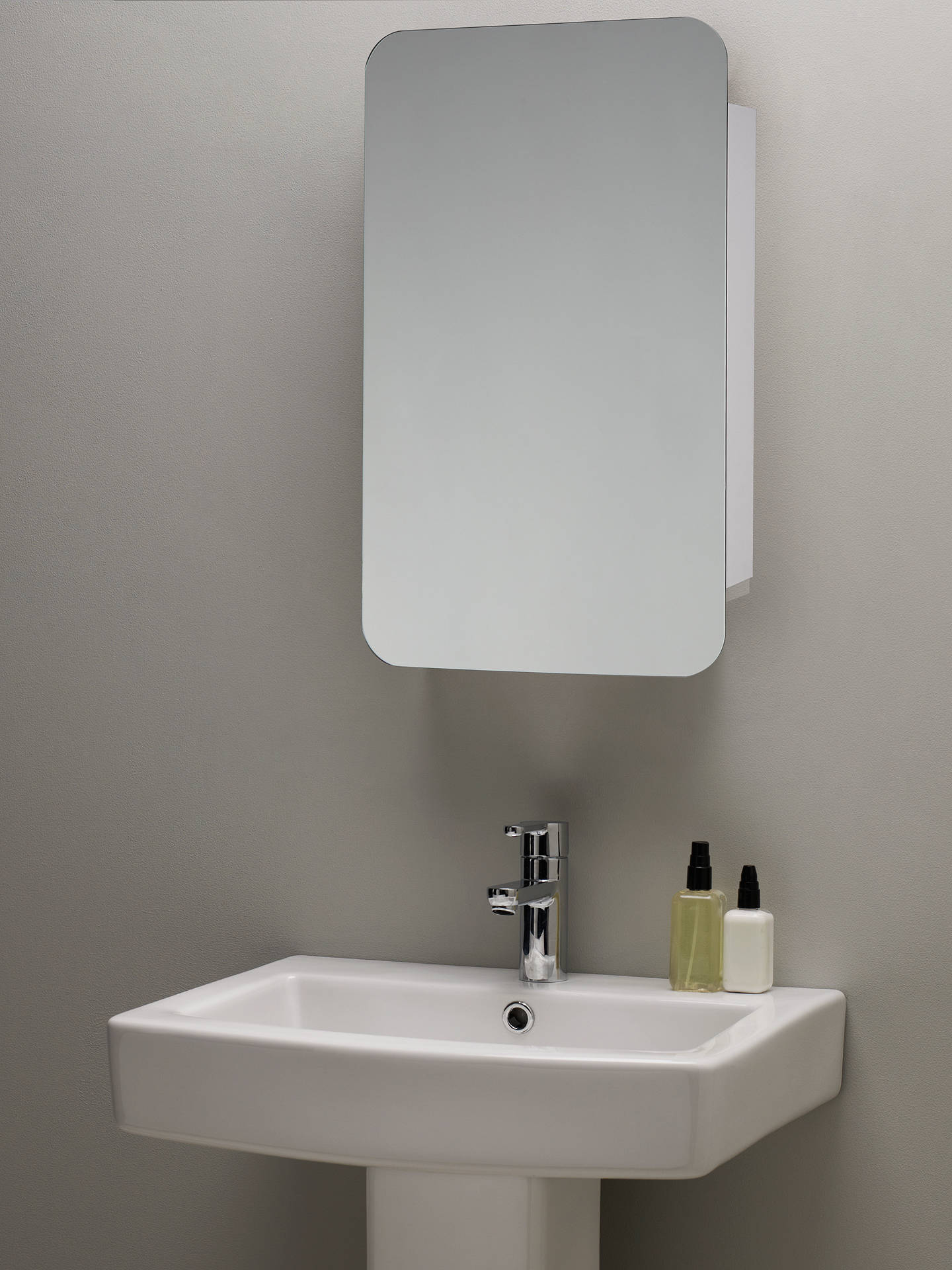 John Lewis Partners Single Mirrored Sliding Door Bathroom Cabinet
