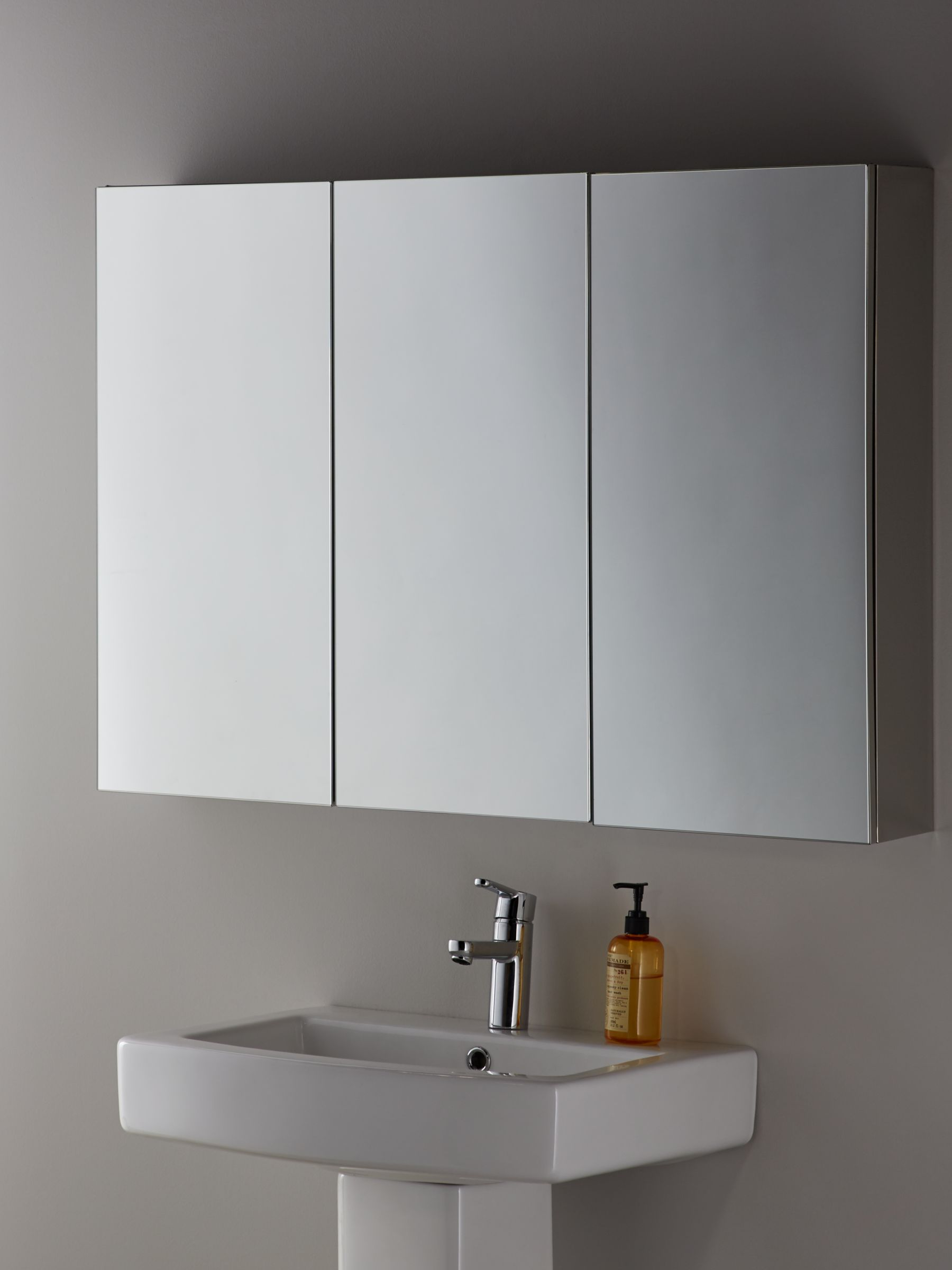 John Lewis Partners Triple Mirrored Bathroom Cabinet Silver At John Lewis Partners