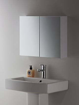John Lewis & Partners Double Mirrored Bathroom Cabinet, White Metal