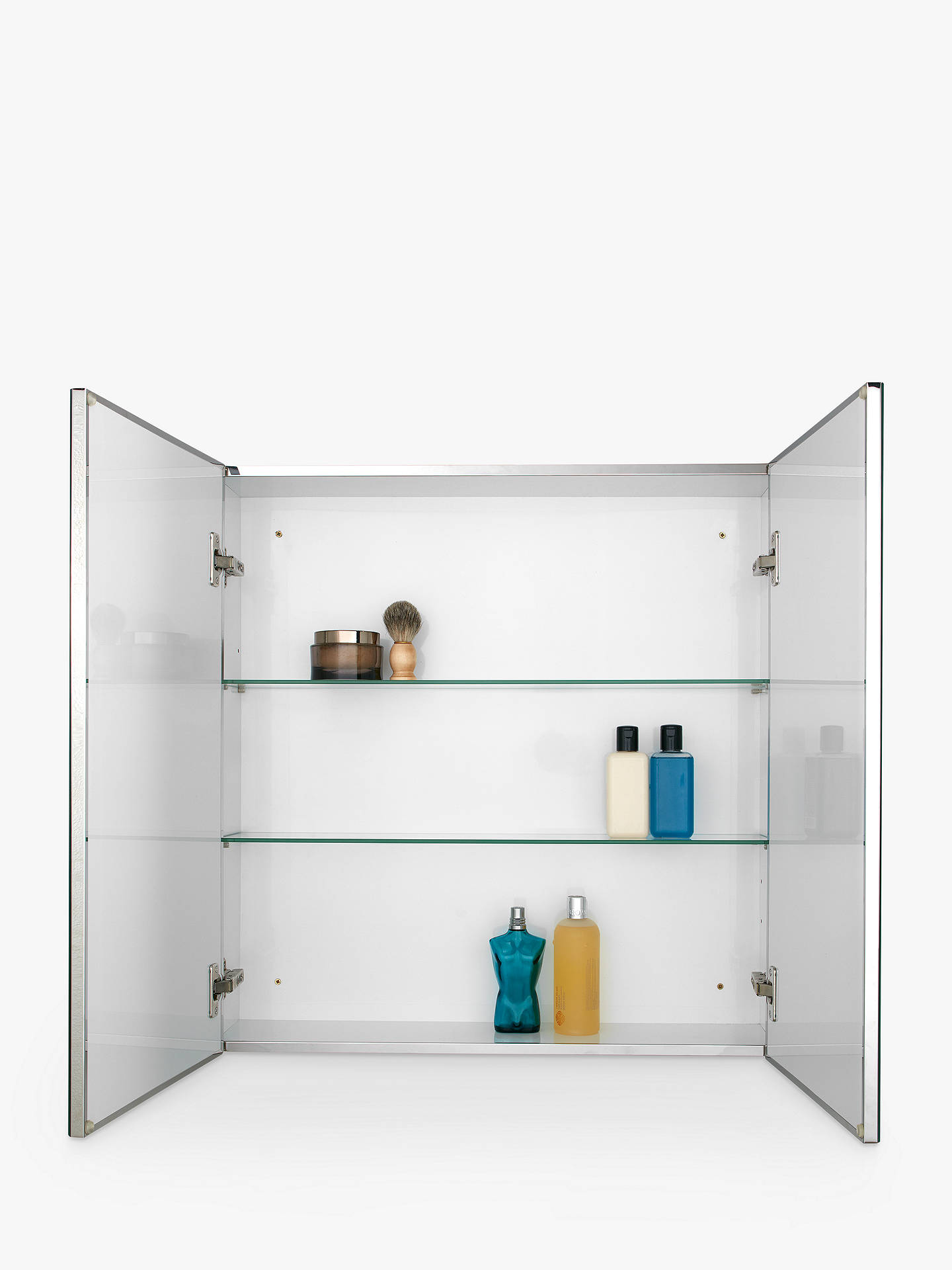 BuyJohn Lewis & Partners Double Mirrored Bathroom Cabinet, Silver Online at johnlewis.com