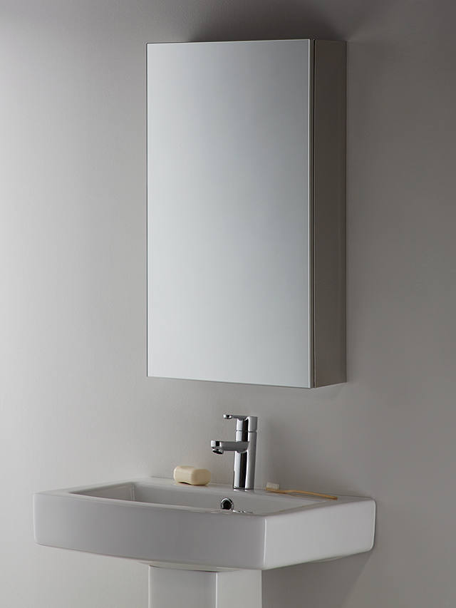 John Lewis Partners Single Mirrored Bathroom Cabinet Silver