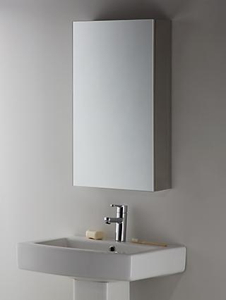 John Lewis & Partners Single Mirrored Bathroom Cabinet, Silver