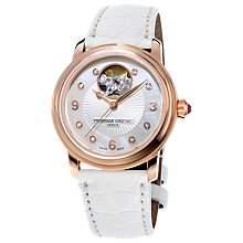 Buy Frédérique Constant FC-310HBAD2P4 Women's Heart Beat Diamond Automatic Alligator Leather Strap Watch, White/Silver Online at johnlewis.com