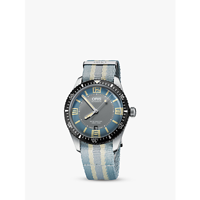 Oris 733 7707 4065-07 5 20 28FC Men's Divers Sixty-Five Automatic Date Fabric Strap Watch, Light Blue/Grey