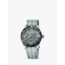 Buy Oris 733 7707 4065-07 5 20 28FC Men's Divers Sixty-Five Automatic Date Fabric Strap Watch, Light Blue/Grey Online at johnlewis.com