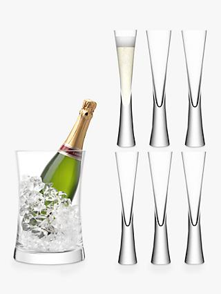 LSA International Moya Set of 6 Flutes and Champagne Bucket