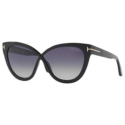 TOM FORD FT0511 Polarised Cat's Eye Sunglasses, Black/Purple Gradient
