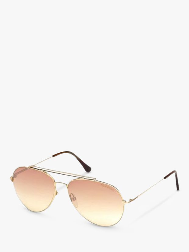 Tom Ford TOM FORD FT0497 Aviator Sunglasses, Gold/Pink Gradient