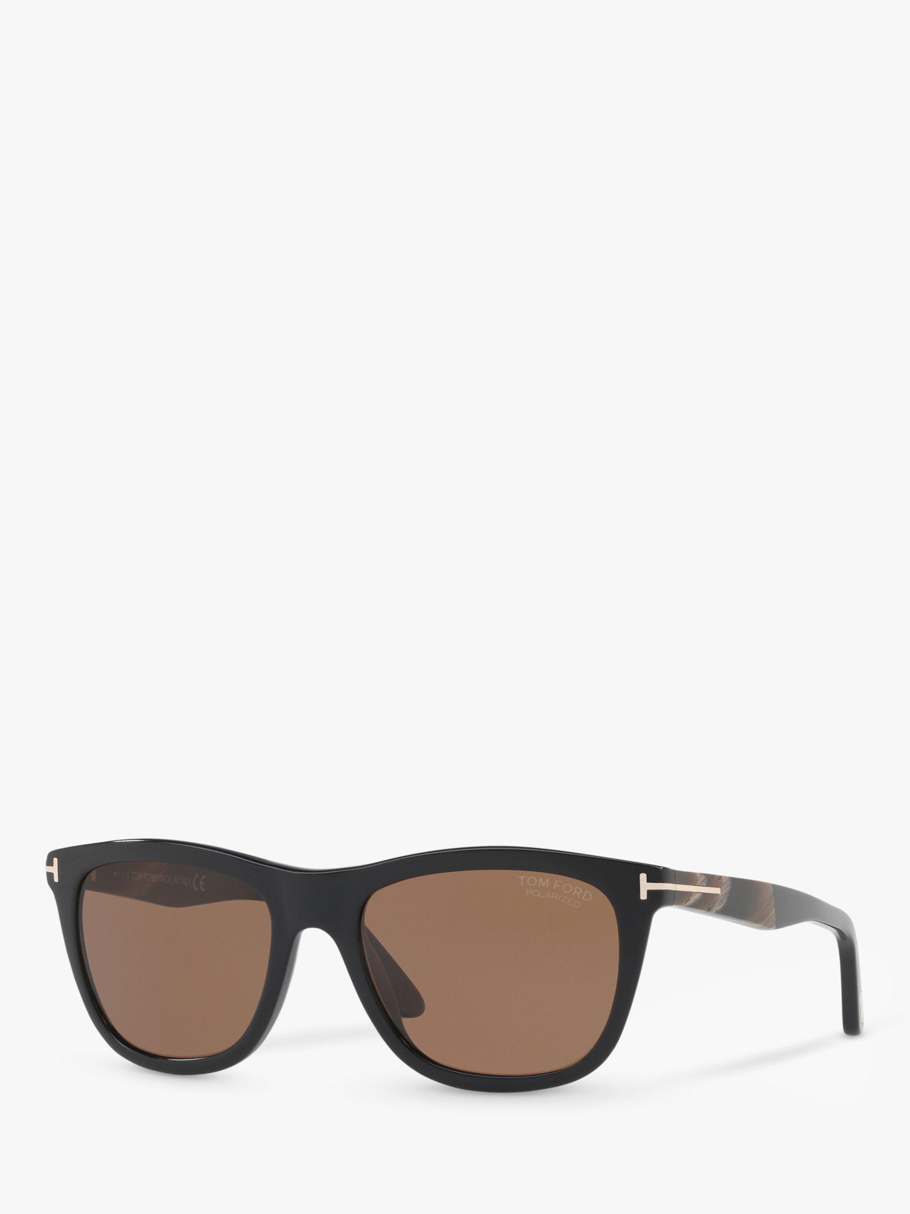Tom Ford TOM FORD FT0500 Andrew Polarised Square Sunglasses, Black/Brown