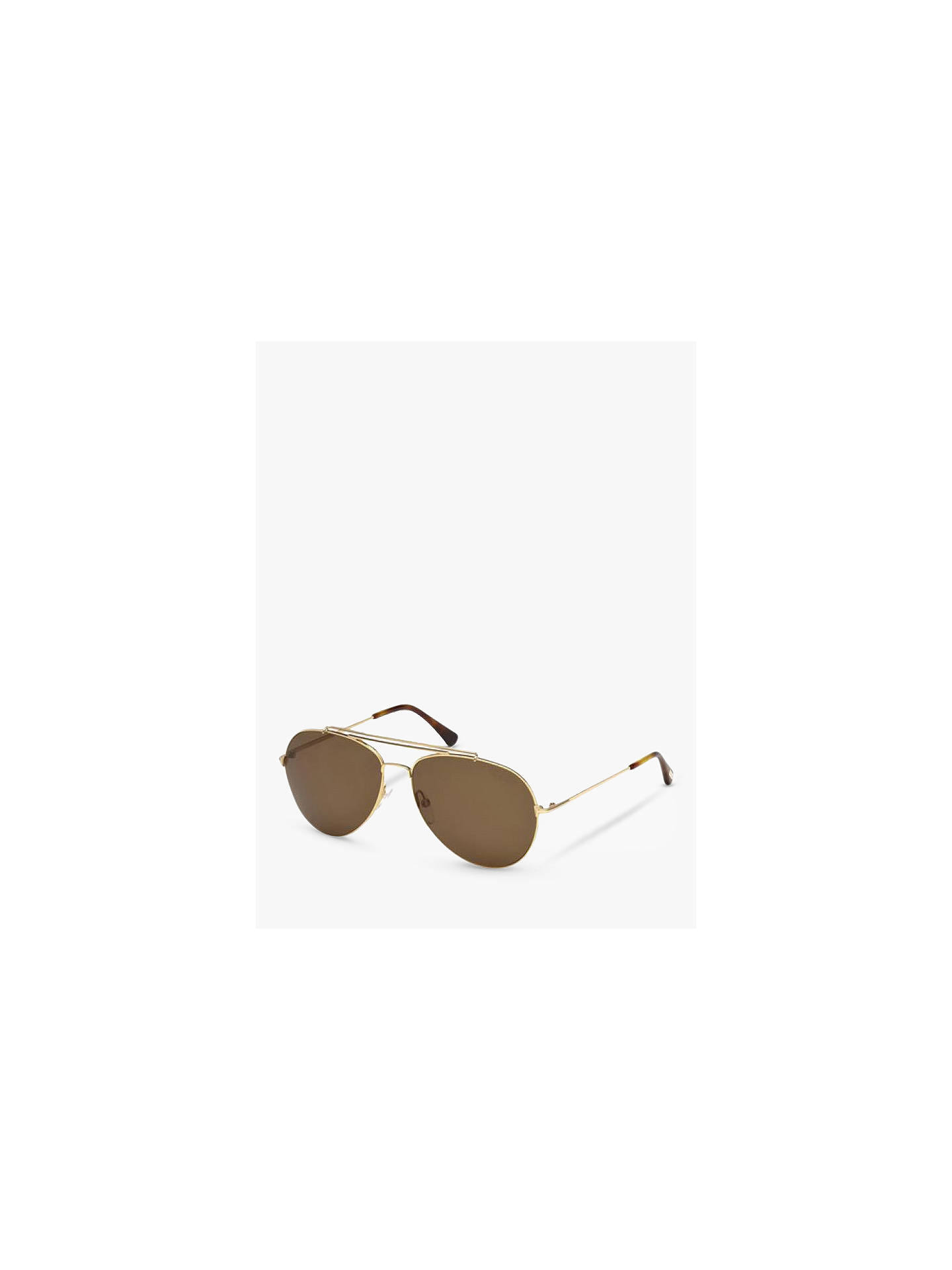 BuyTOM FORD FT0497 Polarised Aviator Sunglasses, Gold/Brown Online at johnlewis.com
