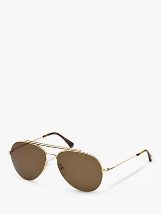 TOM FORD FT0497 Polarised Aviator Sunglasses, Gold/Brown