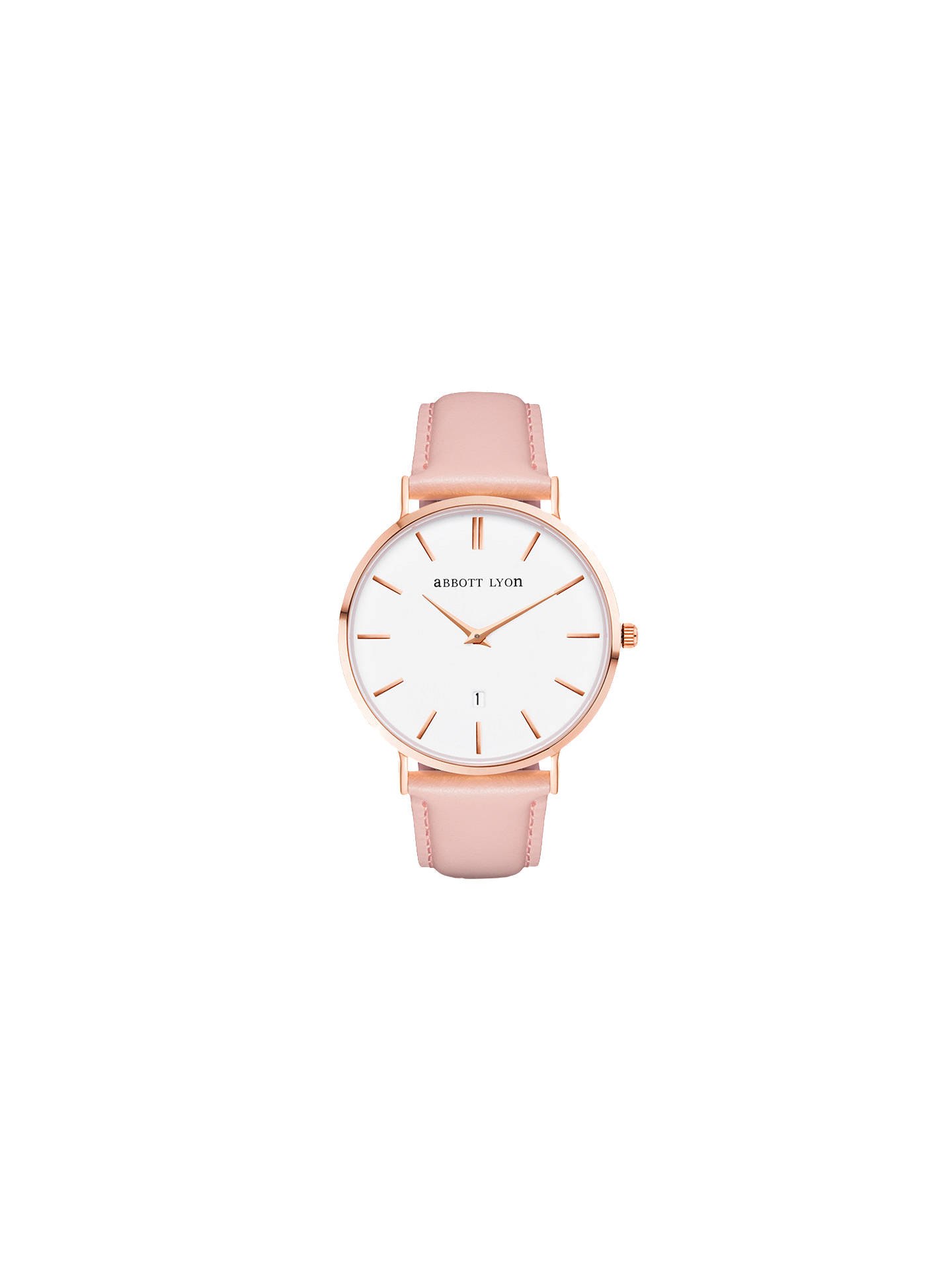 82970b51fe18 Buy Abbott Lyon Women's Kensington 40 Date Leather Strap Watch, Blush/White  Online at ...
