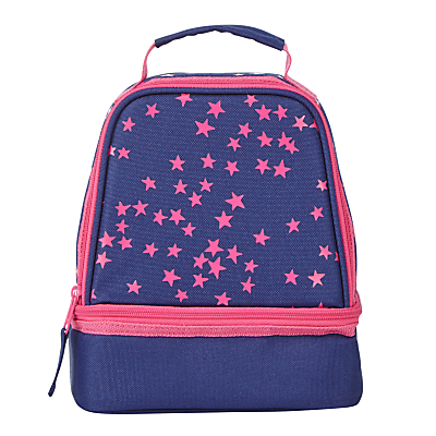 John Lewis Children's Star Print Lunch Box, Navy/Pink