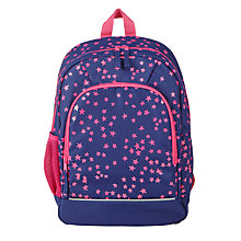 Buy John Lewis Children's Star Print School Backpack, Navy/Pink Online at johnlewis.com