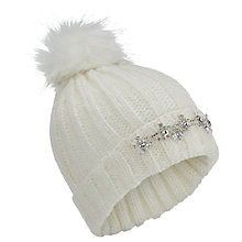 Buy Miss Selfridge Embellished Beanie Hat, Cream Online at johnlewis.com