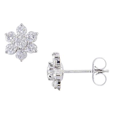 E.W Adams 18ct White Gold Diamond Cluster Flower Stud Earrings