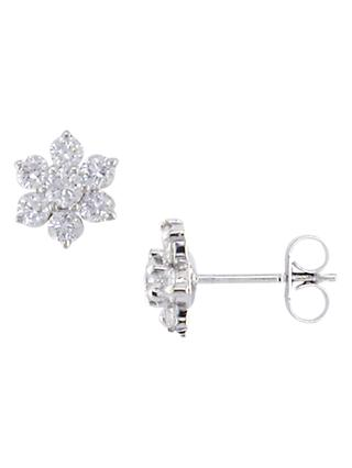 E.W Adams 18ct White Gold Diamond Cluster Flower Stud Earrings