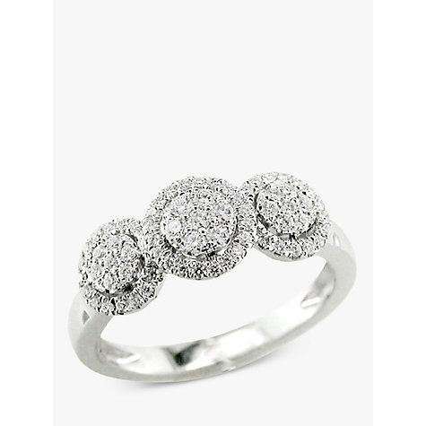 Buy EWA 18ct White Gold Diamond Triple Cluster Engagement Ring