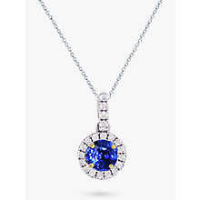 Buy EWA 18ct White Gold Diamond and Sapphire Cluster Pendant Necklace Online at johnlewis.com