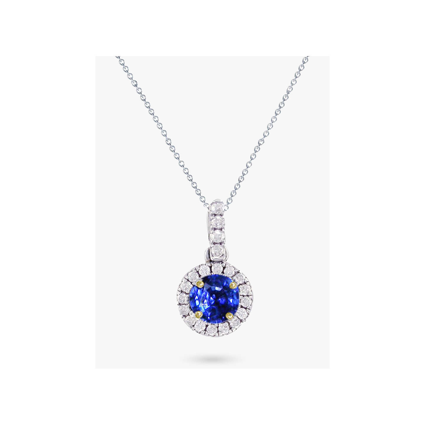 Ewa 18ct white gold diamond and sapphire cluster pendant necklace at buyewa 18ct white gold diamond and sapphire cluster pendant necklace online at johnlewis aloadofball Image collections