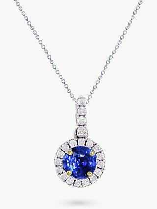 E.W Adams 18ct White Gold Diamond and Sapphire Cluster Pendant Necklace