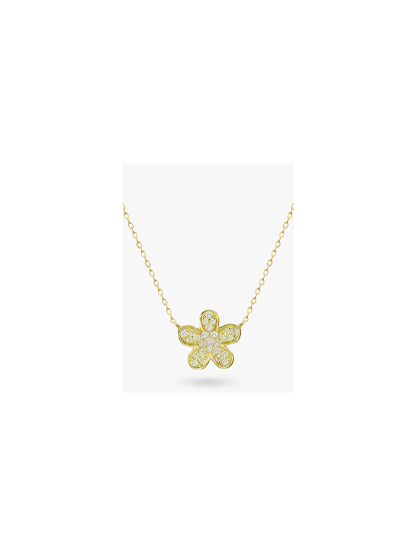 b7f5a240be814c Buy E.W Adams 18ct Gold Diamond Flower Pendant Necklace, Yellow Gold Online  at johnlewis.