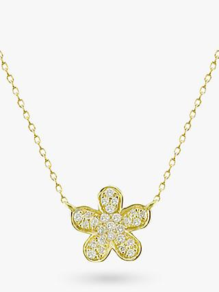 E.W Adams 18ct Gold Diamond Flower Pendant Necklace