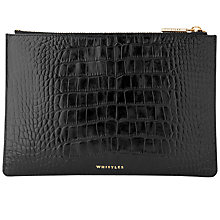Buy Whistles Shiny Croc Leather Small Clutch Bag, Black Online at johnlewis.com