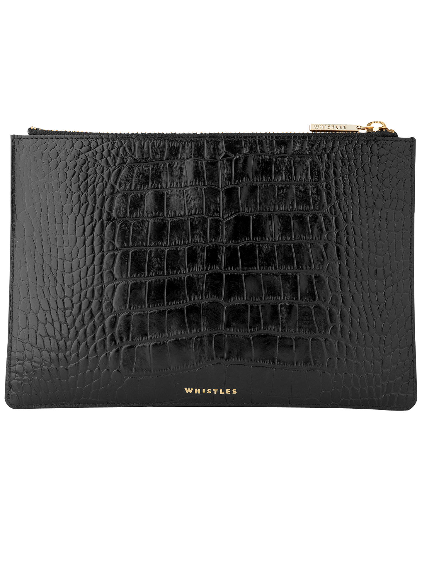 1a56731298 Buy Whistles Shiny Croc Leather Small Clutch Bag, Black Online at  johnlewis.com ...
