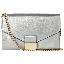 Buy Whistles Artesia Leather Clutch Bag, Pewter Online at johnlewis.com