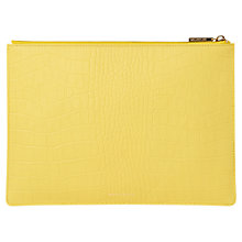 Buy Whistles Matte Croc Medium Leather Clutch Bag, Yellow Online at johnlewis.com