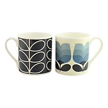 Buy Orla Kiely Blue & Tonal Stem Mugs, Set of 2 Online at johnlewis.com