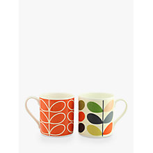 Buy Orla Kiely Stem Mugs, Orange/Multi, Set of 2 Online at johnlewis.com