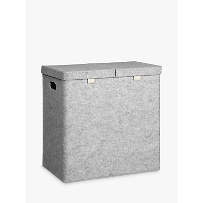 House by John Lewis Felt Double Laundry Basket, Grey