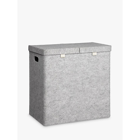 Buy House By John Lewis Felt Double Laundry Basket Grey