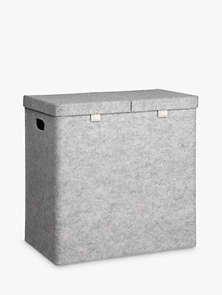 House By John Lewis Felt Double Laundry Basket Grey