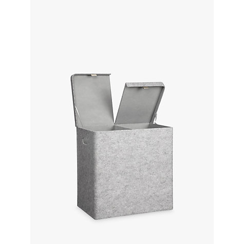 Buy House by John Lewis Felt Double Laundry Basket, Grey Online at johnlewis.com