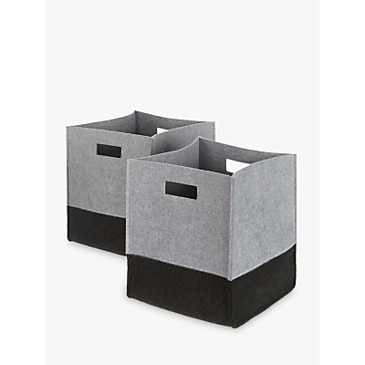 House by John Lewis 2 Tone Felt Storage Box, Set of 2, Grey