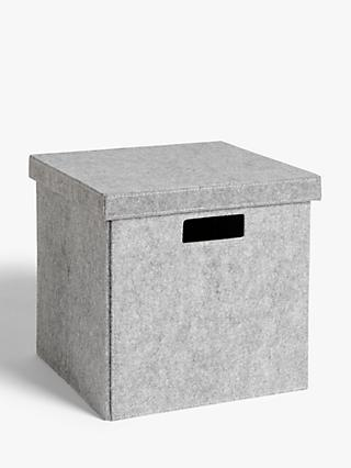 House by John Lewis Grey Felt Storage Box, Large