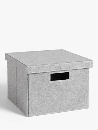 House by John Lewis Grey Felt Storage Box, Medium