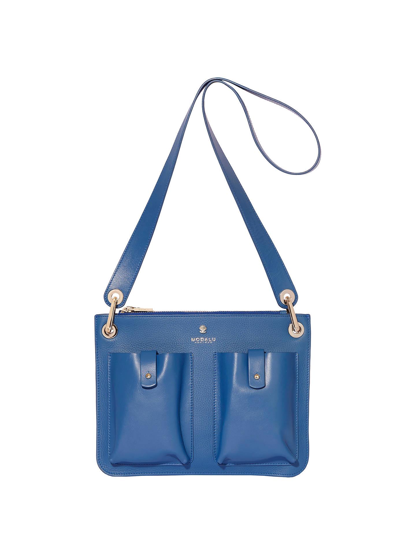 Modalu Carter Leather Shoulder Bag Denim Blue Online At Johnlewis