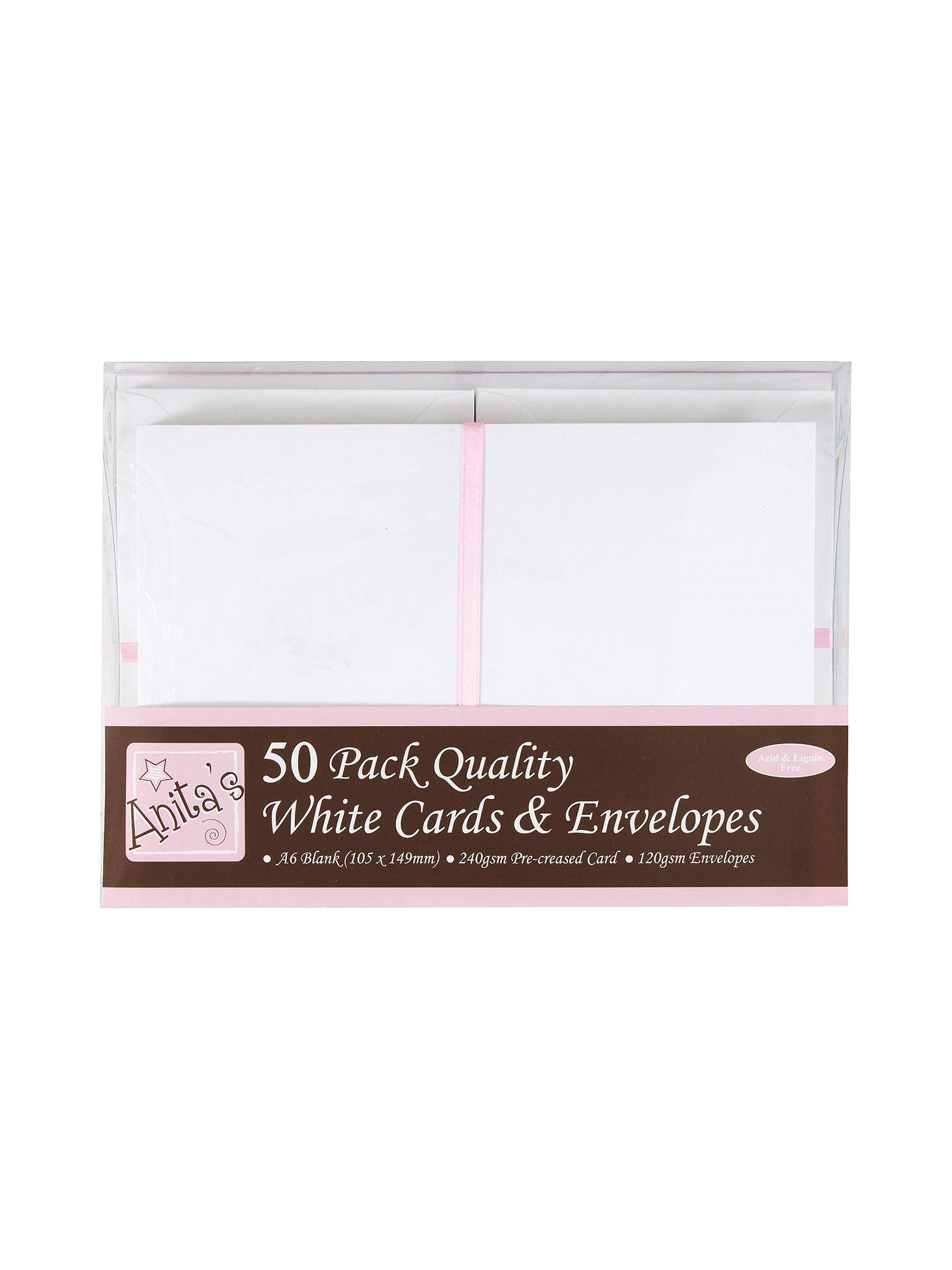Buy Anita's A6 Cards and Envelopes, Pack of 50, Cream/White Online at johnlewis.com