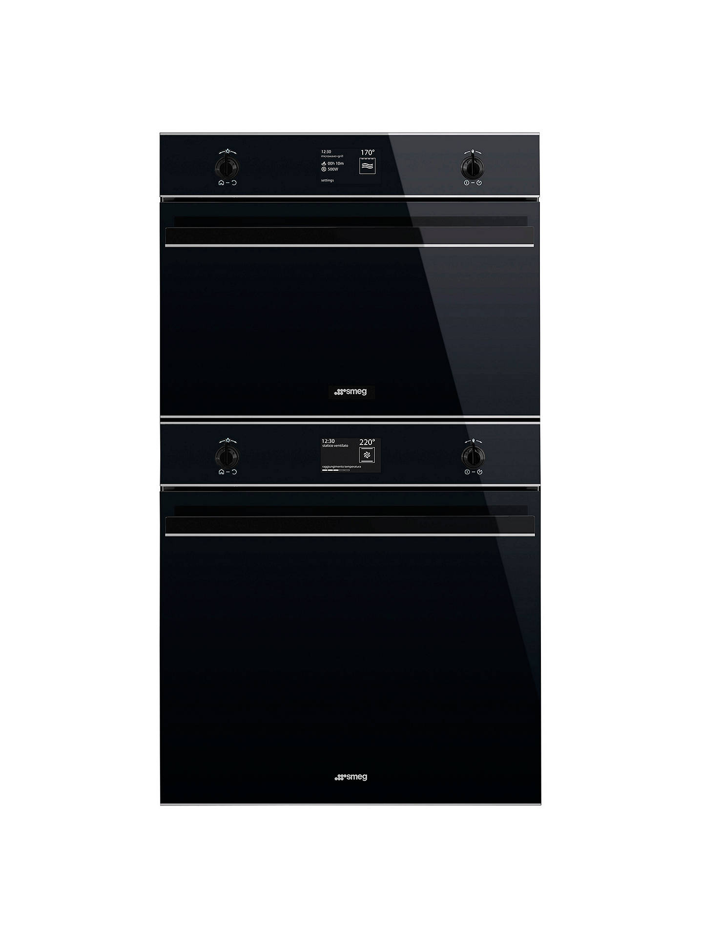 Buy Smeg SFP6603NXE Dolce Stil Novo Multifunction Built-In Single Oven With White LCD Display, Black / Stainless Steel Online at johnlewis.com