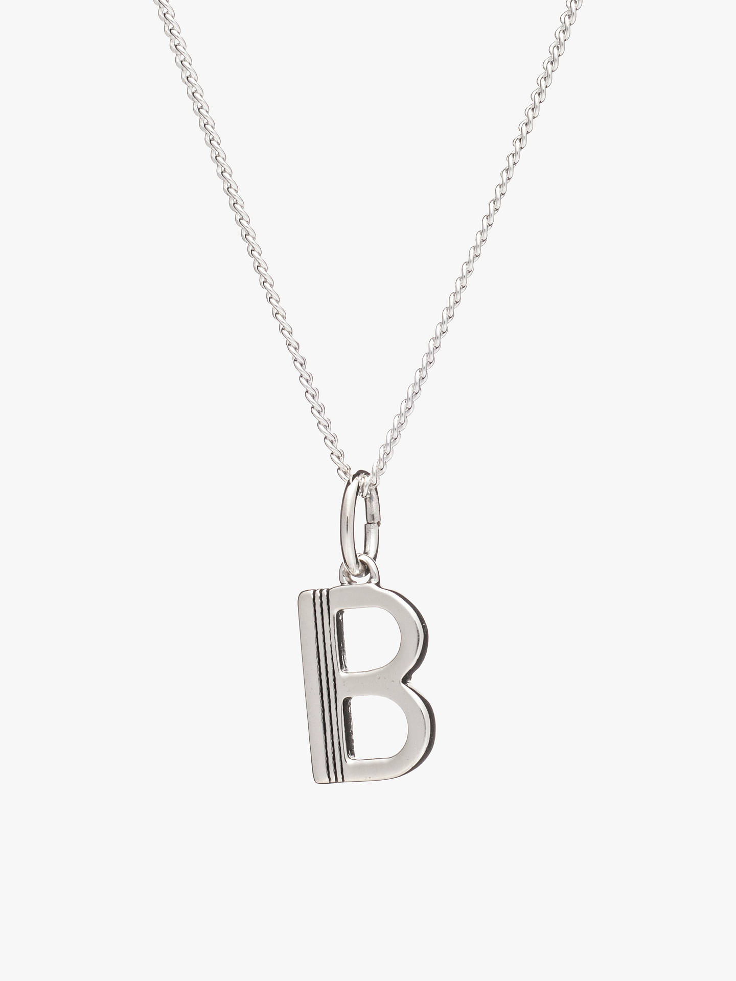 Buy Rachel Jackson London Sterling Silver Initial Pendant Necklace, B Online at johnlewis.com