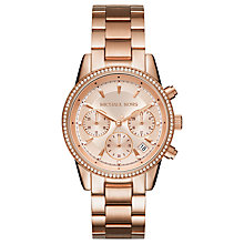 Buy Michael Kors Women's Ritz Crystal Date Chronograph Bracelet Strap Watch Online at johnlewis.com