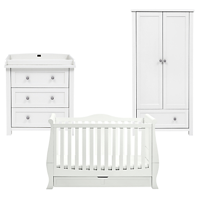 Silver Cross Nostalgia Dresser, Wardrobe and Windsor Sleigh Cotbed, Solid White