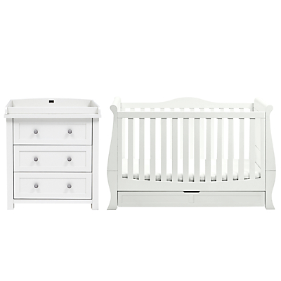 Silver Cross Nostalgia Dresser and Windsor Sleigh Cotbed, Solid White