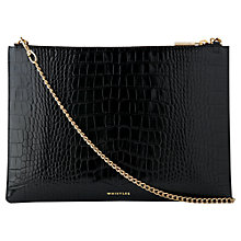 Buy Whistles Rivington Shiny Croc Leather Chain Clutch Bag, Black Online at johnlewis.com
