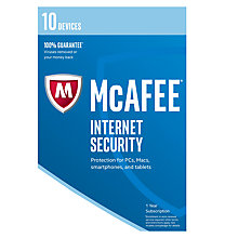 Buy McAfee Internet Security 2017, 10 Devices, 1-Year Subscription Online at johnlewis.com